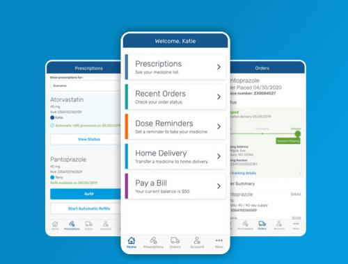 Phones display screens from the Express Scripts mobile app